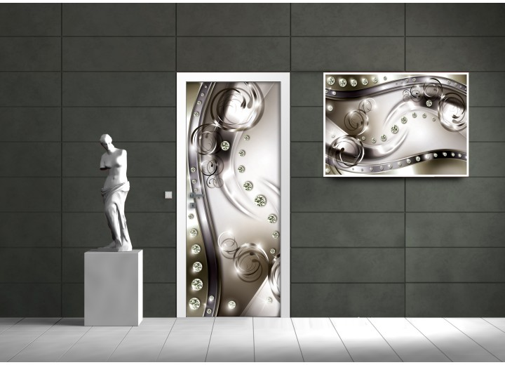 Deursticker Muursticker Modern | Zilver | 91x211cm