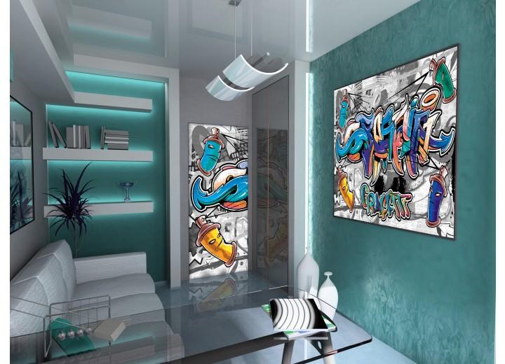 Deursticker Muursticker Graffiti | Blauw, Grijs | 91x211cm