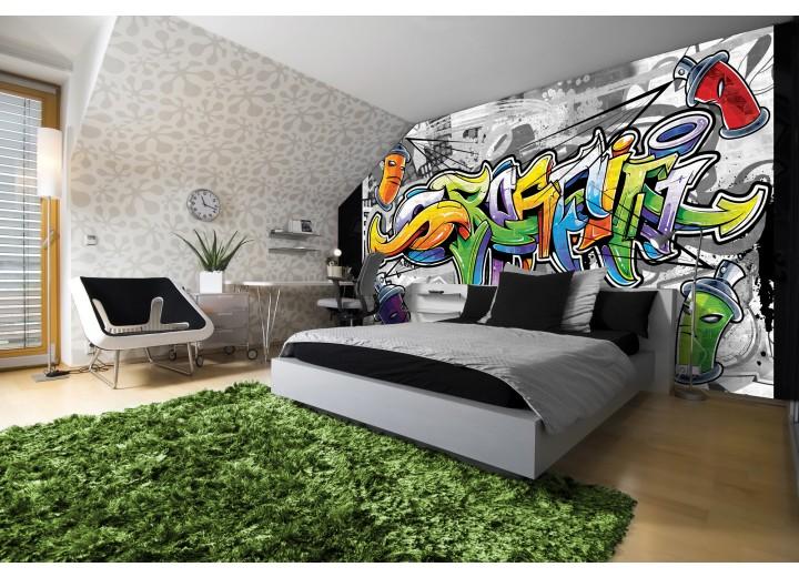 Fotobehang Vlies | Graffiti | Grijs, Geel | 368x254cm (bxh)