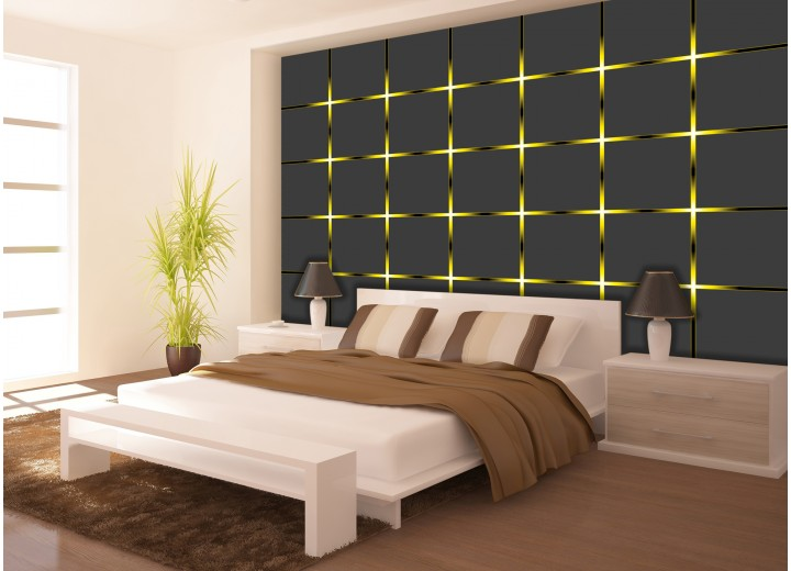 Fotobehang Design | Grijs, Geel | 104x70,5cm