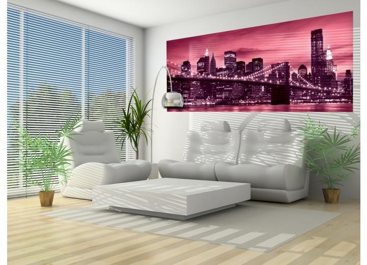 Fotobehang New York | Roze | 250x104cm
