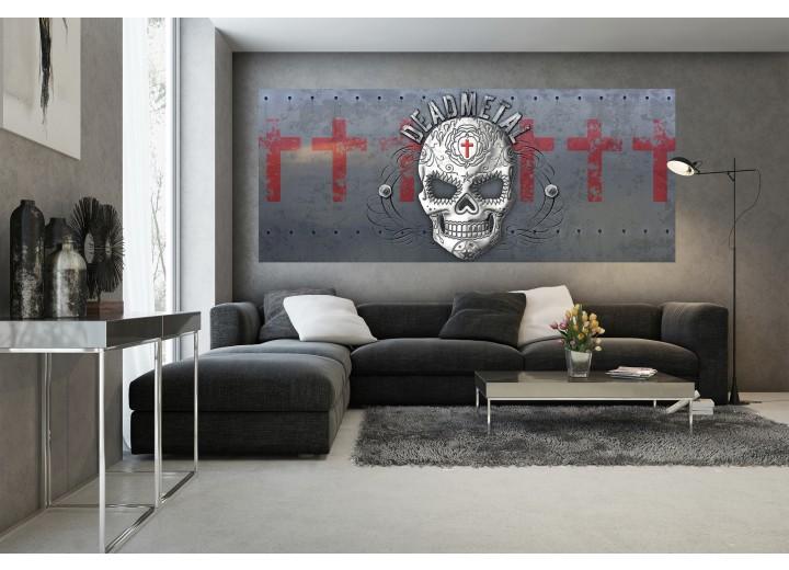 Fotobehang Alchemy Gothic, Schedel | Grijs, Rood | 250x104cm