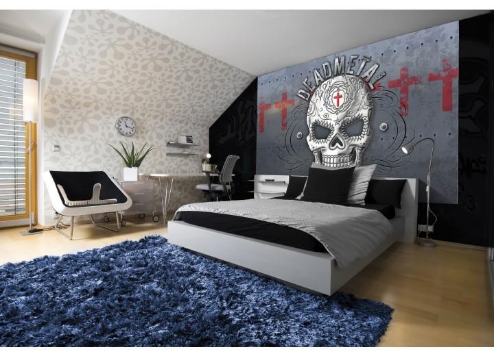Fotobehang Vlies | Alchemy Gothic, Schedel | Grijs, Rood | 368x254cm (bxh)