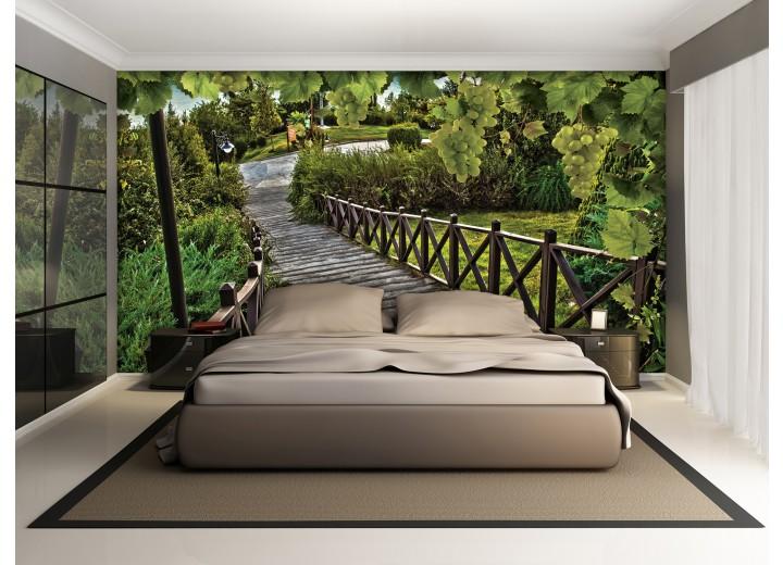 Fotobehang Natuur, Brug | Groen | 104x70,5cm