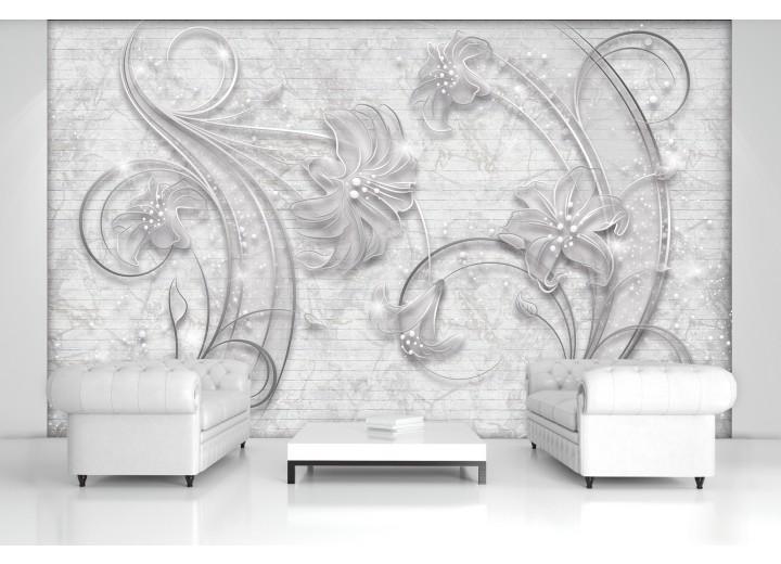 Fotobehang Muur, Bloemen | Grijs | 104x70,5cm