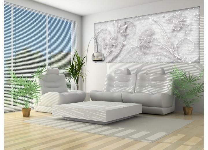 Fotobehang Muur, Bloemen   Grijs   250x104cm