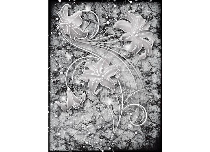 Fotobehang Papier Bloemen | Grijs | 184x254cm