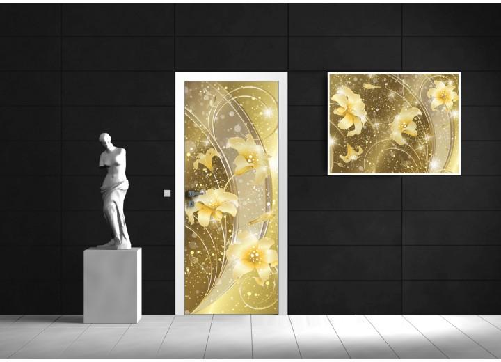 Fotobehang Bloemen | Goud | 91x211cm
