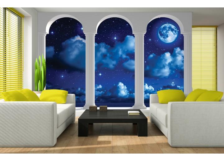 Fotobehang Nacht, Modern | Blauw | 416x254