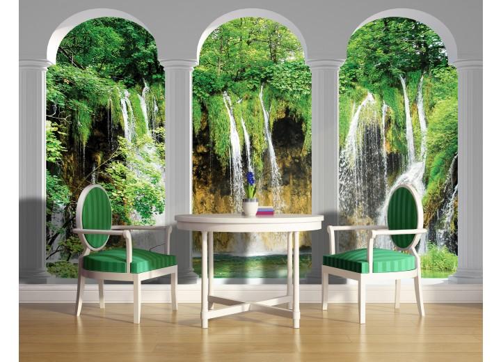Fotobehang Natuur, Waterval | Groen | 104x70,5cm