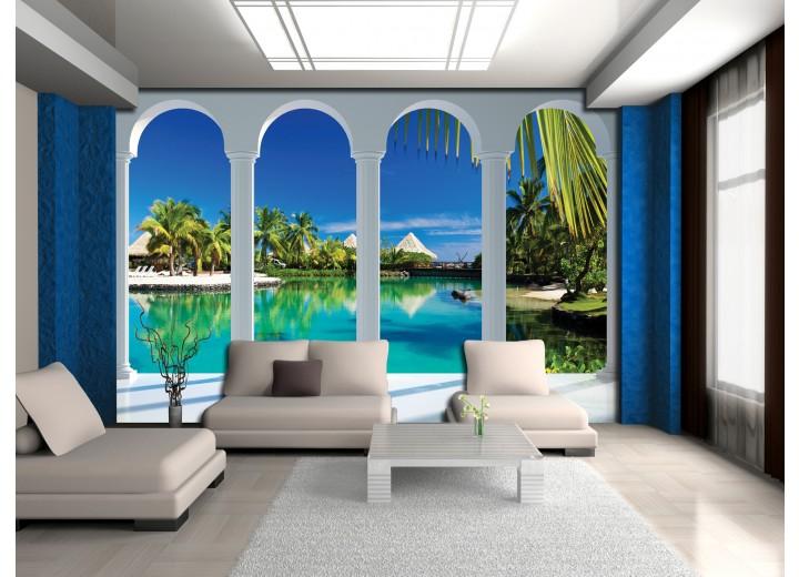 Fotobehang Papier Natuur, Water | Blauw | 254x184cm