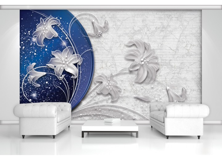 Fotobehang Bloemen, Modern | Blauw | 152,5x104cm