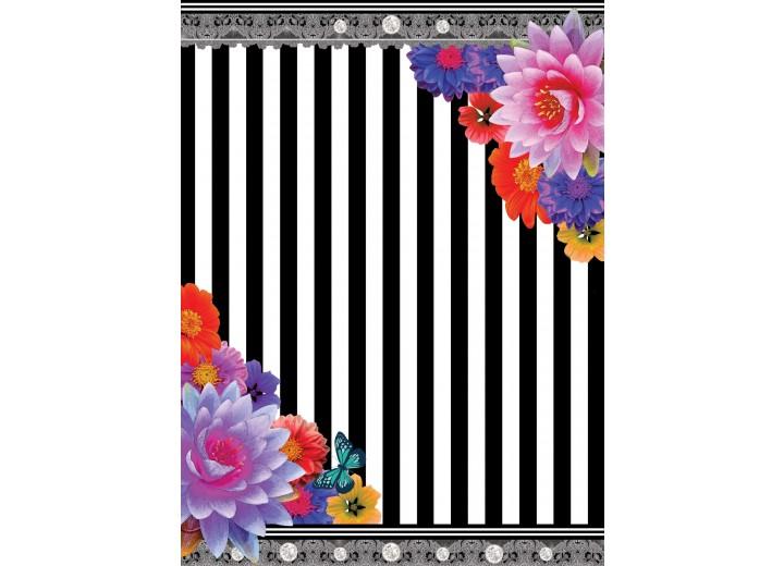 Fotobehang Papier Strepen, Bloemen | Roze | 184x254cm
