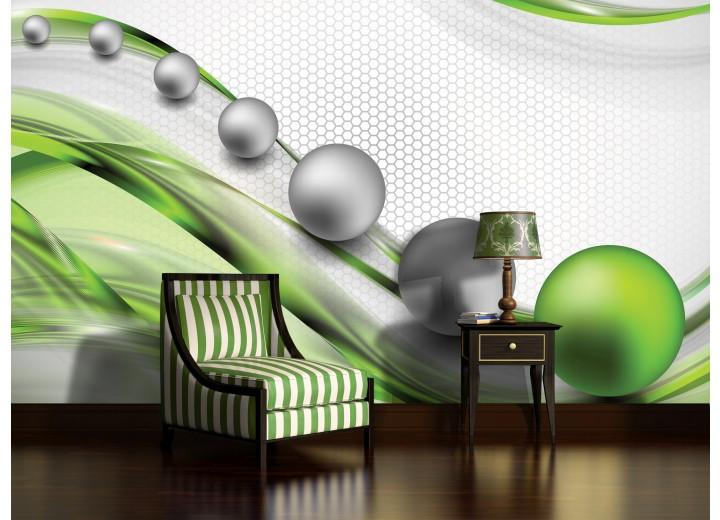 Fotobehang Design | Groen, Zilver | 208x146cm