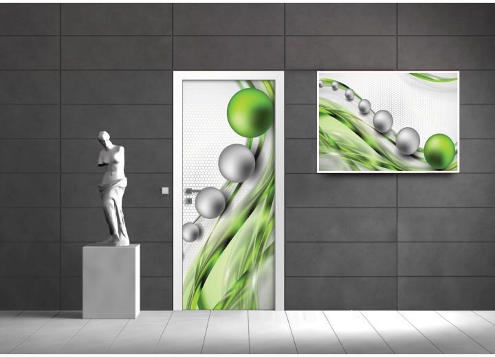 Fotobehang Design | Groen, Zilver | 91x211cm