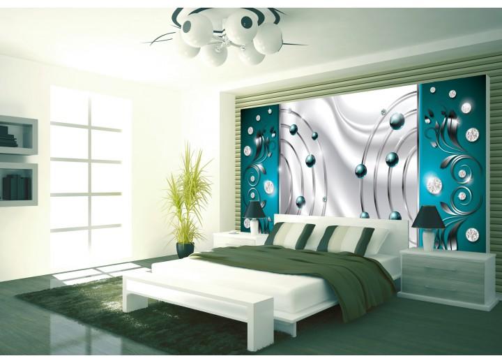 Fotobehang Papier Modern | Zilver, Turquoise | 254x184cm