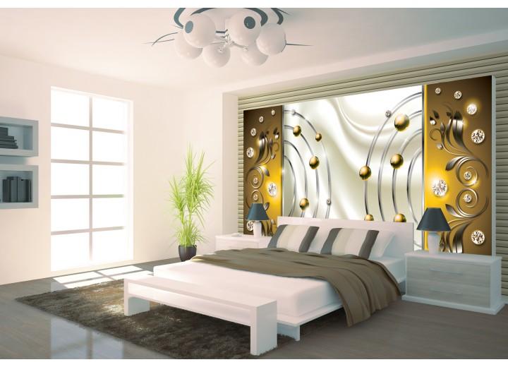 Fotobehang Papier Modern | Goud, Crème | 368x254cm