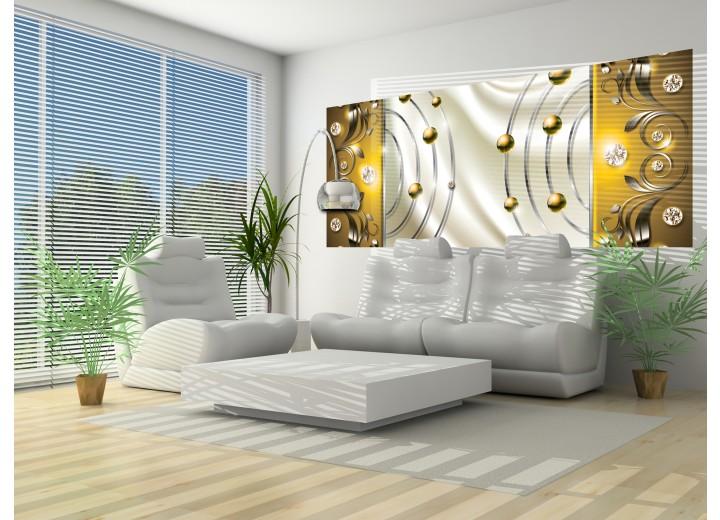 Fotobehang Modern | Goud, Crème | 250x104cm