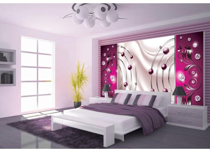 Fotobehang Vlies   Modern, Slaapkamer   Roze, Zilver   368x254cm (bxh)