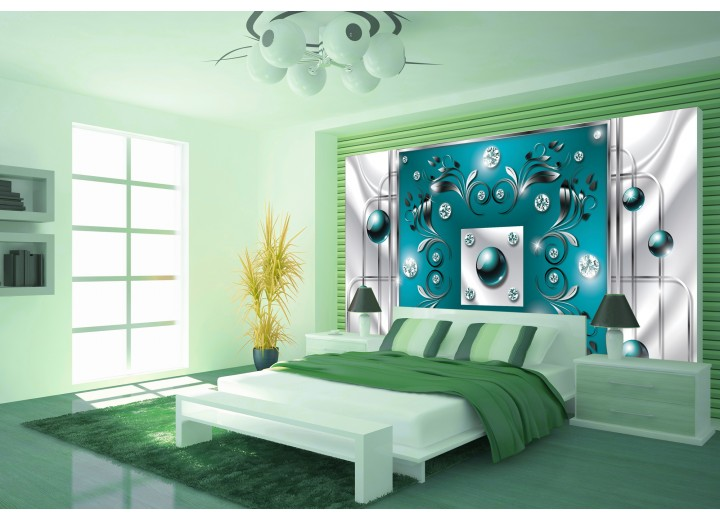 Fotobehang Modern, Slaapkamer | Zilver, Turquoise | 416x254