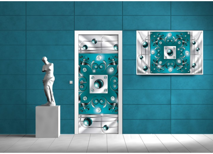 Deursticker Muursticker Abstract | Turquoise | 91x211cm