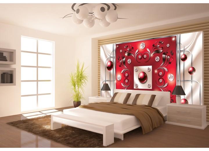 Fotobehang Modern, Slaapkamer | Zilver, Rood | 416x254