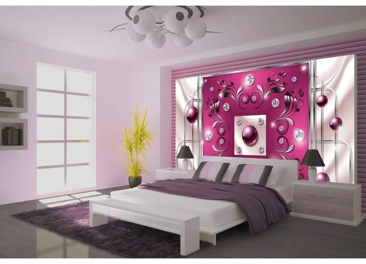 Fotobehang Modern, Slaapkamer | Roze, Zilver | 208x146cm