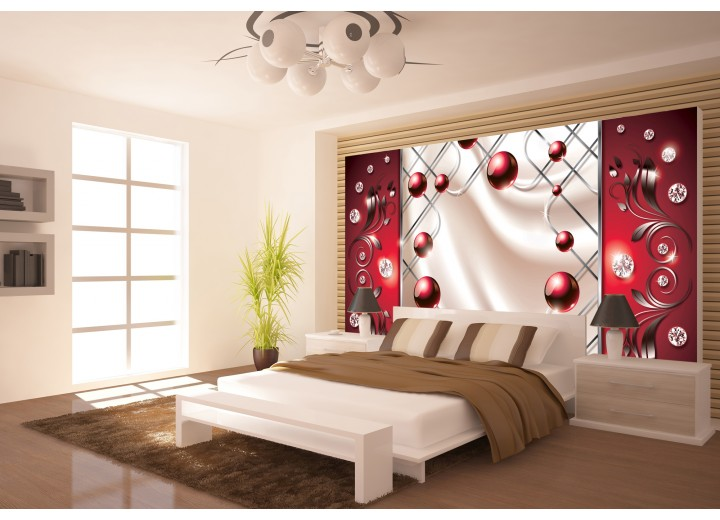 Fotobehang Modern, Slaapkamer | Zilver, Rood | 104x70,5cm