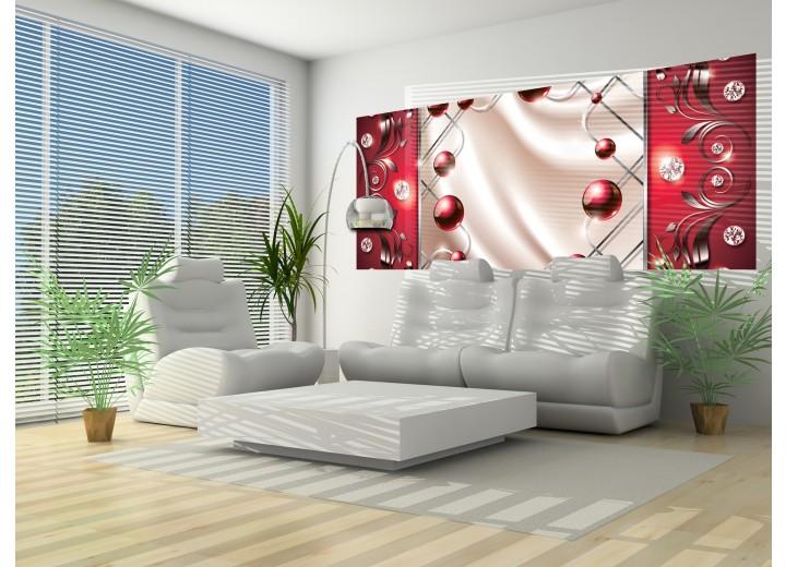 Fotobehang Modern, Slaapkamer | Zilver, Rood | 250x104cm