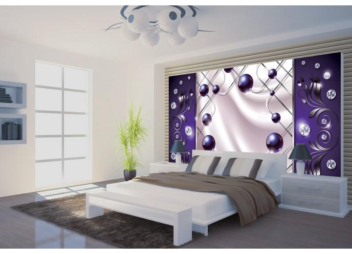 Fotobehang Modern, Slaapkamer | Zilver, Paars | 152,5x104cm