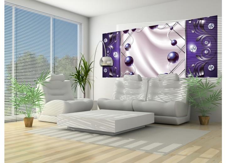 Fotobehang Modern, Slaapkamer | Zilver, Paars | 250x104cm
