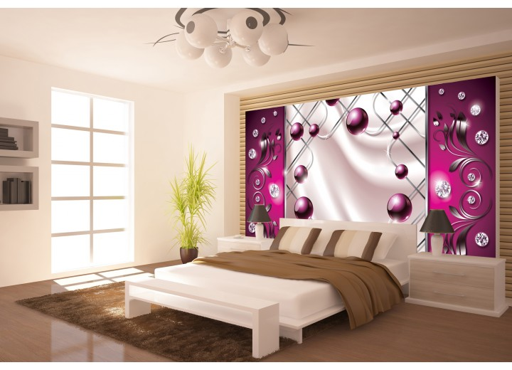 Fotobehang Vlies   Modern, Slaapkamer   Zilver, Roze   368x254cm (bxh)