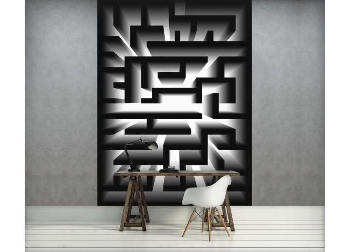 Fotobehang Papier 3D   Zwart, Wit   184x254cm