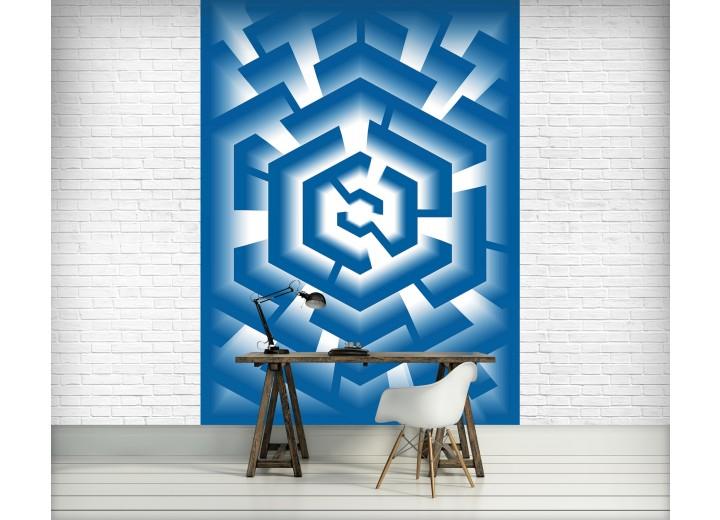 Fotobehang Papier 3D   Blauw, Wit   184x254cm