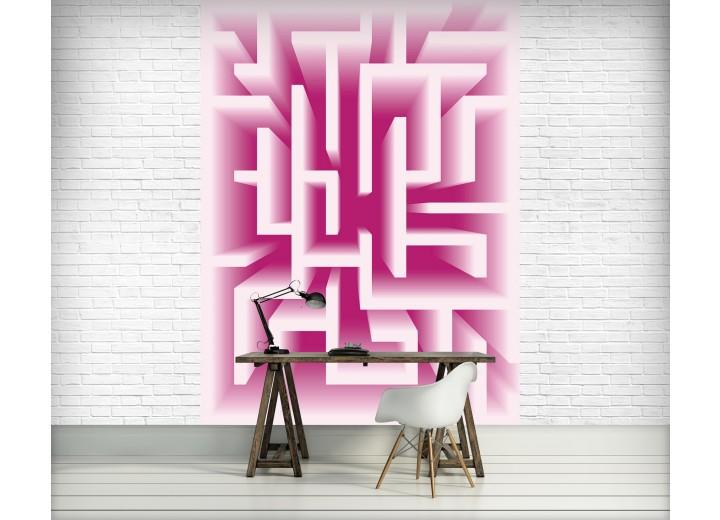 Fotobehang Papier 3D   Roze, Wit   184x254cm