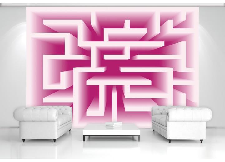 Fotobehang Papier Design, Doolhof | Roze | 254x184cm