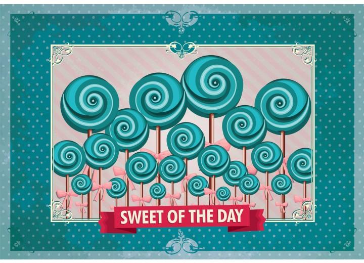 Fotobehang Papier Snoepjes | Turquoise | 368x254cm