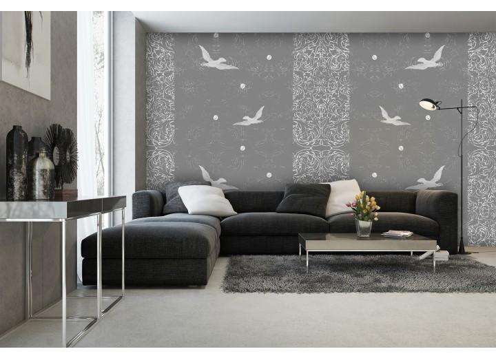 Fotobehang Papier Vogels | Grijs | 368x254cm