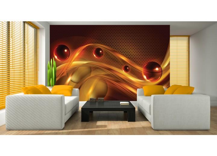 Fotobehang Design | Bruin, Oranje | 312x219cm