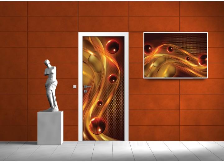 Deursticker Muursticker Abstract | Oranje | 91x211cm