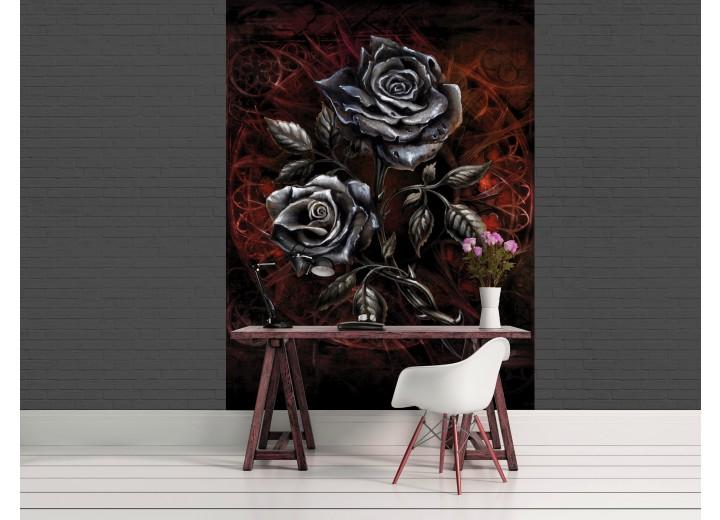 Fotobehang Papier Rozen, Bloemen   Grijs   184x254cm