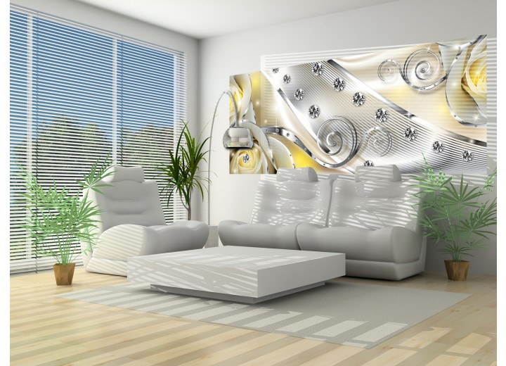 Fotobehang Design, Rozen | Zilver, Geel | 250x104cm
