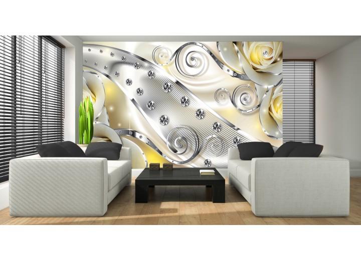 Fotobehang Vlies | Design, Rozen | Zilver, Geel | 368x254cm (bxh)
