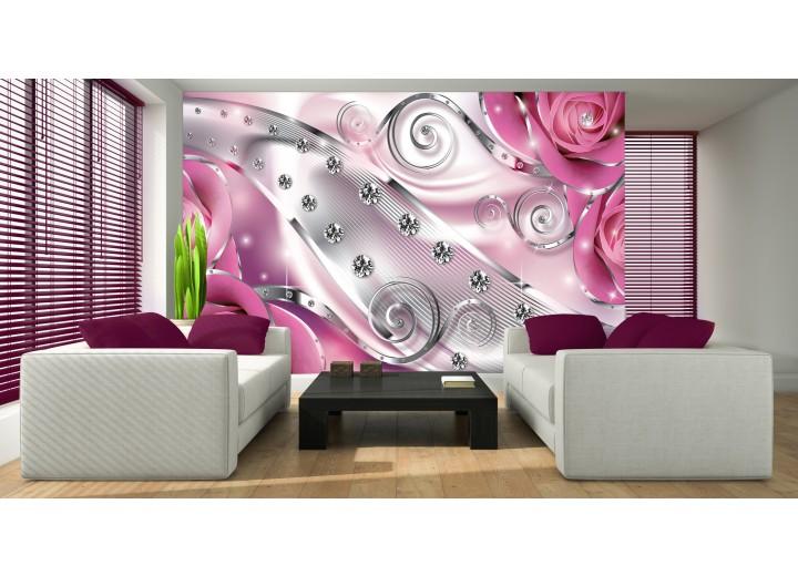 Fotobehang Design, Rozen | Zilver, Roze | 152,5x104cm