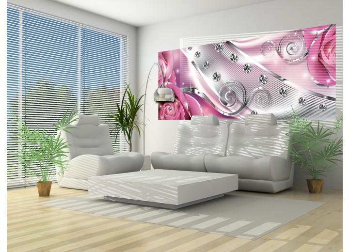 Fotobehang Design, Rozen | Zilver, Roze | 250x104cm