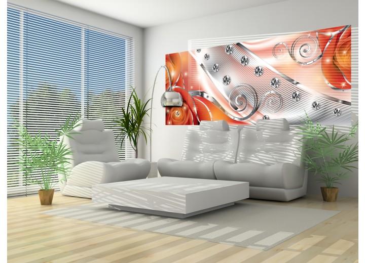 Fotobehang Design, Rozen | Zilver, Oranje | 250x104cm