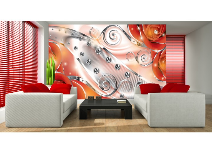 Fotobehang Vlies | Design, Rozen | Zilver, Oranje | 368x254cm (bxh)