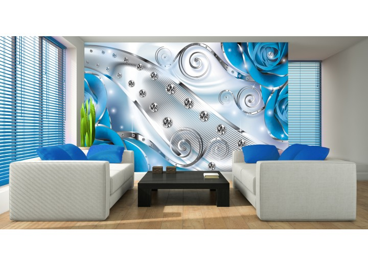 Fotobehang Papier Design, Rozen | Zilver, Blauw | 254x184cm