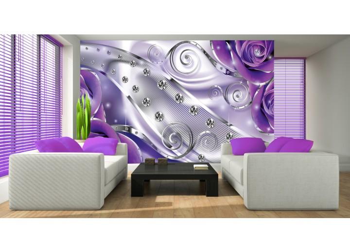Fotobehang Papier Design, Rozen | Zilver, Paars | 368x254cm