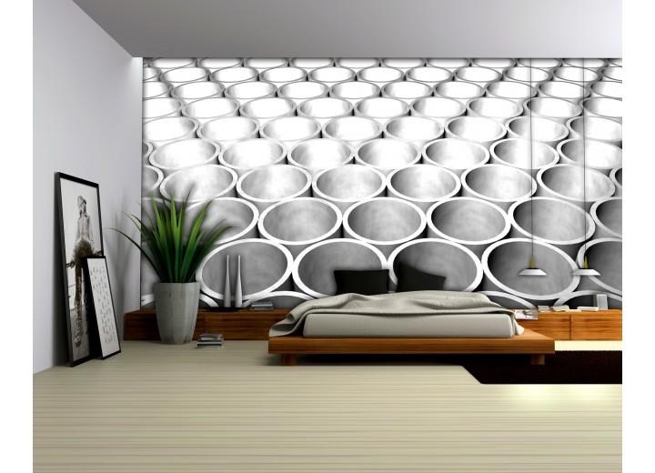 Fotobehang Papier 3D | Zilver, Grijs | 368x254cm